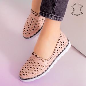 Pantofi piele naturala Bix roz