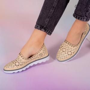 Pantofi piele naturala Bon bej