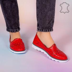 Pantofi piele naturala Bon rosii