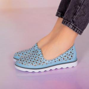 Pantofi piele naturala Bun albastri
