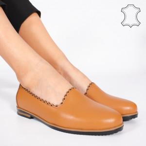 Pantofi Piele Naturala BUR Camel