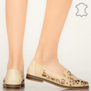 Pantofi piele naturala Carn bej