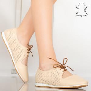Pantofi piele naturala Esy bej