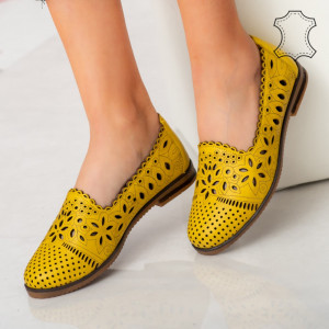 Pantofi piele naturala Fras galbeni
