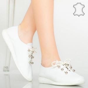 Pantofi piele naturala Hasby albi