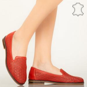 Pantofi piele naturala Maua rosii