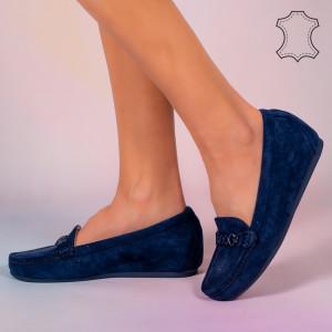 Pantofi piele naturala Melle albastri