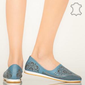 Pantofi piele naturala Mogi albastri