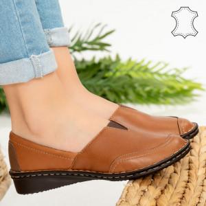 Pantofi piele naturala Nob camel