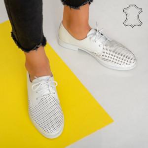 Pantofi piele naturala Pec albi