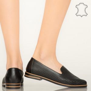 Pantofi piele naturala Velha negri