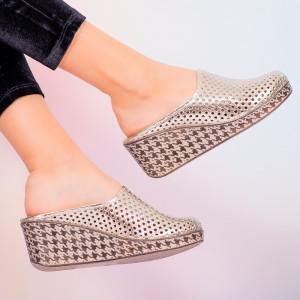Papuci piele naturala Merco aurii
