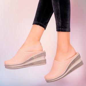 Papuci piele naturala Movis roz