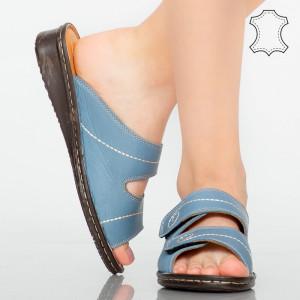 Papuci piele naturala Rodo albastri