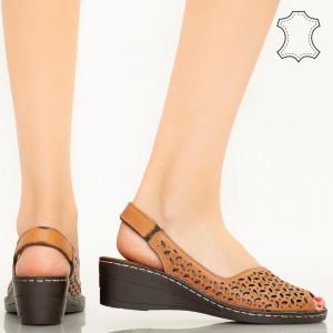Sandale piele naturala Goy maro