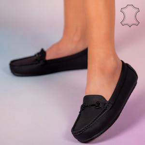 Természetes bőr cipő Muli fekete