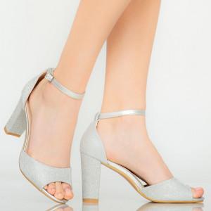 Сребърни дамски сандали Foxi