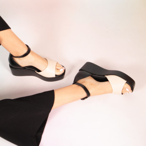 Beige Pirs lady platforms