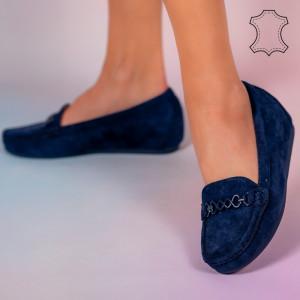 Melle kék természetes bőr cipő