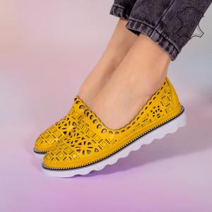 Pantofi piele naturala Bon galbeni