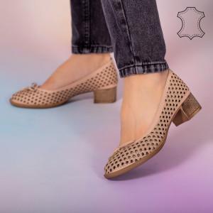 Pantofi piele naturala Bro roz