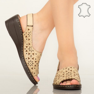 Pantofi piele naturala Crato bej