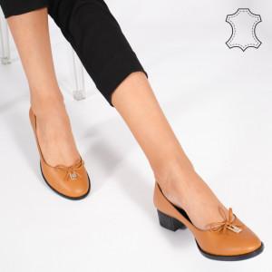 Pantofi Piele Naturala CROD Camel