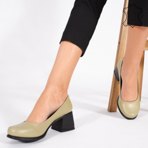 Pantofi Piele Naturala FELY Olive