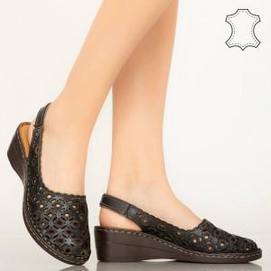 Pantofi piele naturala Huan negri