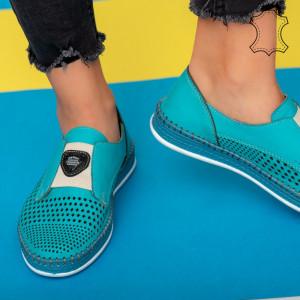 Pantofi piele naturala Lym turcoaz