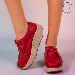Pantofi piele naturala Maxo rosii