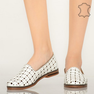 Pantofi piele naturala Mide albi
