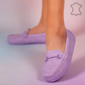 Pantofi piele naturala Muli mov