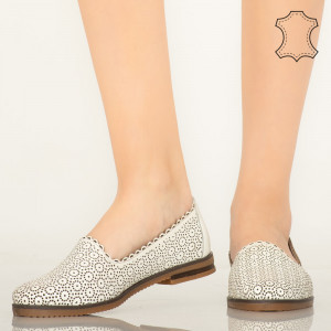 Pantofi piele naturala Timon albi