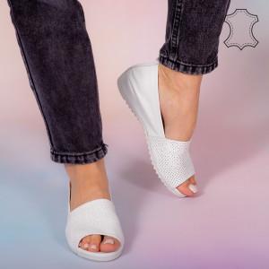 Sandale piele naturala Bet albe