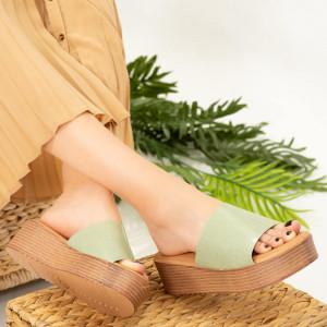 Дамски зелени чехли