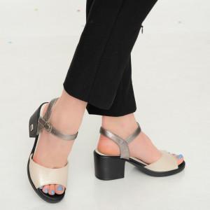 Назад бежови дамски сандали