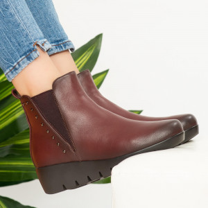 Botine imblanite Lofy bordo