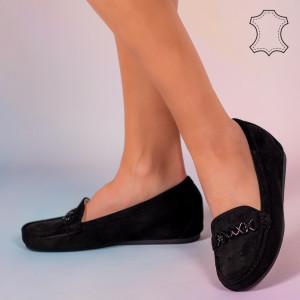 Fekete Melle valódi bőr cipő