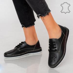 Pantofi piele naturala Alid negri