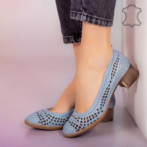 Pantofi piele naturala Bie albastri