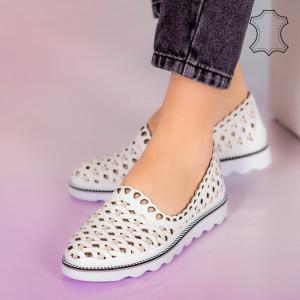 Pantofi piele naturala Bix albi