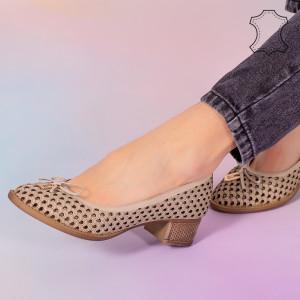 Pantofi piele naturala Bro bej