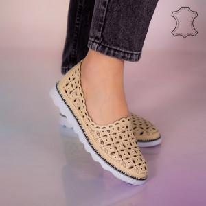 Pantofi piele naturala Bun bej