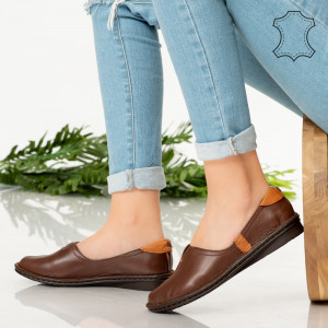 Pantofi piele naturala Dial maro