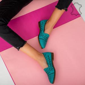 Pantofi piele naturala Fras turcoaz