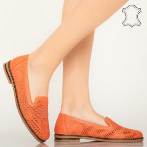Pantofi piele naturala Guen portocali