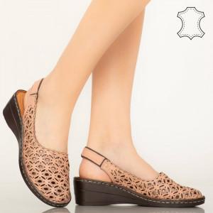 Pantofi piele naturala Huan roz