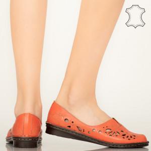 Pantofi piele naturala Lobo portocalii