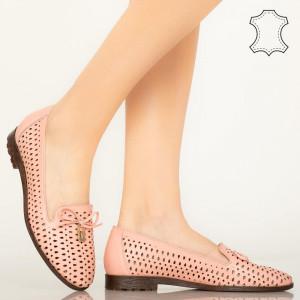 Pantofi piele naturala Para roz